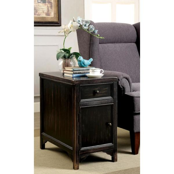 Williams Import Meadow Transitional Style Antique Black Side Table With  Storage Drawers And Spacious Cabinet