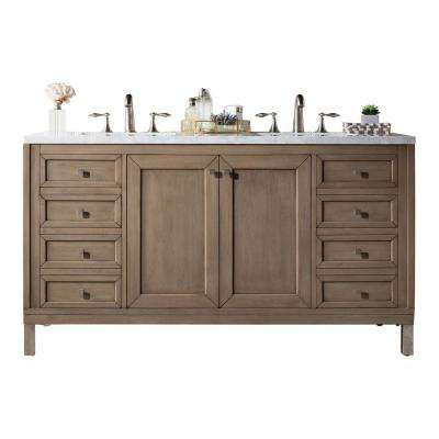 Chicago 60 in. W Double Bath Vanity in Whitewashed Walnut with Marble Vanity Top in Carrara White with White Basin