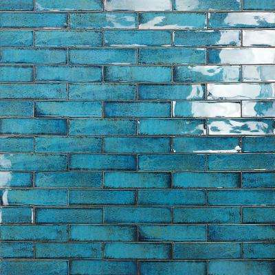 Moze Blue 3 in. x 12 in. 9 mm Ceramic Wall Tile   (22 piece 5.38 sq. ft./ Box)