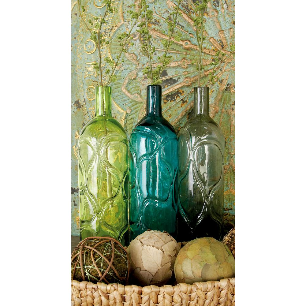 16 in. Polished Assorted Colors and Geometric Embossed Embellishments Glass