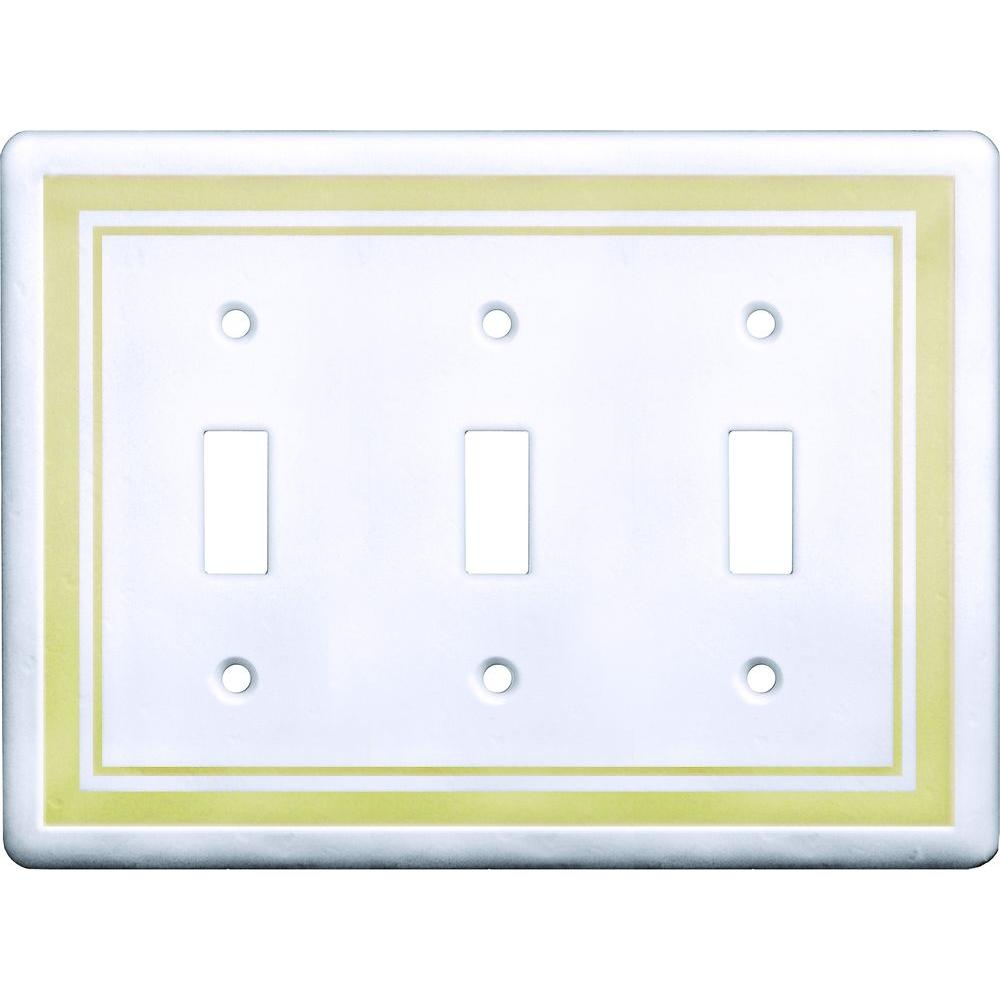 Hampton Bay 3 Toggle Wall Plate, Beige