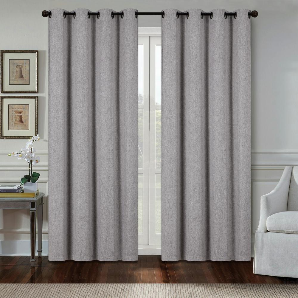 Dainty Home Aspen 84 In Silver Polyester Heavy Blackout Extra Wide