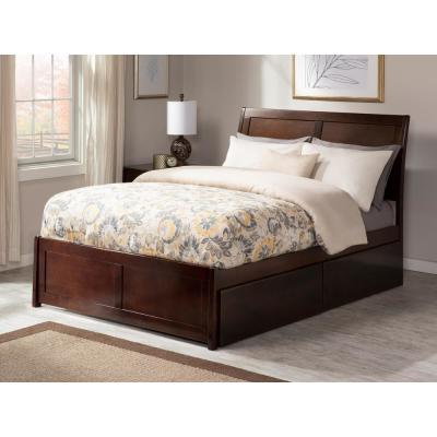 Portland Queen Platform Bed with Matching Foot Board with 2 Urban Bed Drawers in Walnut