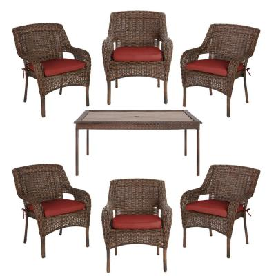 Cambridge Brown 7-Piece Wicker Outdoor Patio Dining Set with Sunbrella Henna Red Cushions