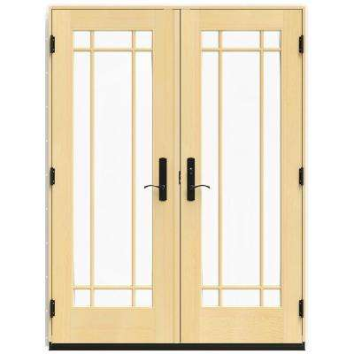 59.25 in. x 79.5 in. W-4500 Brilliant White Left Hand Inswing French Wood Patio Door