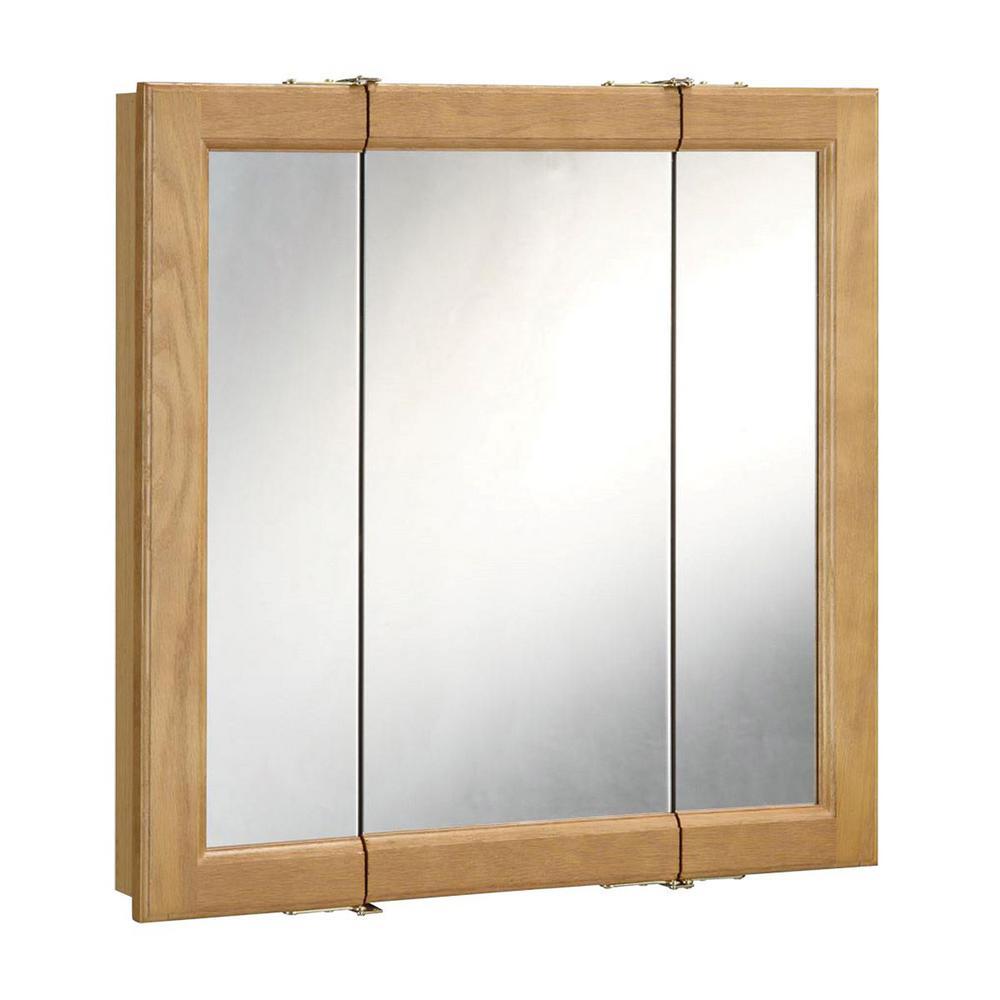 Richland 48 in. W x 30 in. H 4-4/5 in. D Framed Surface-Mount Tri-View Bathroom Medicine Cabinet in Nutmeg Oak