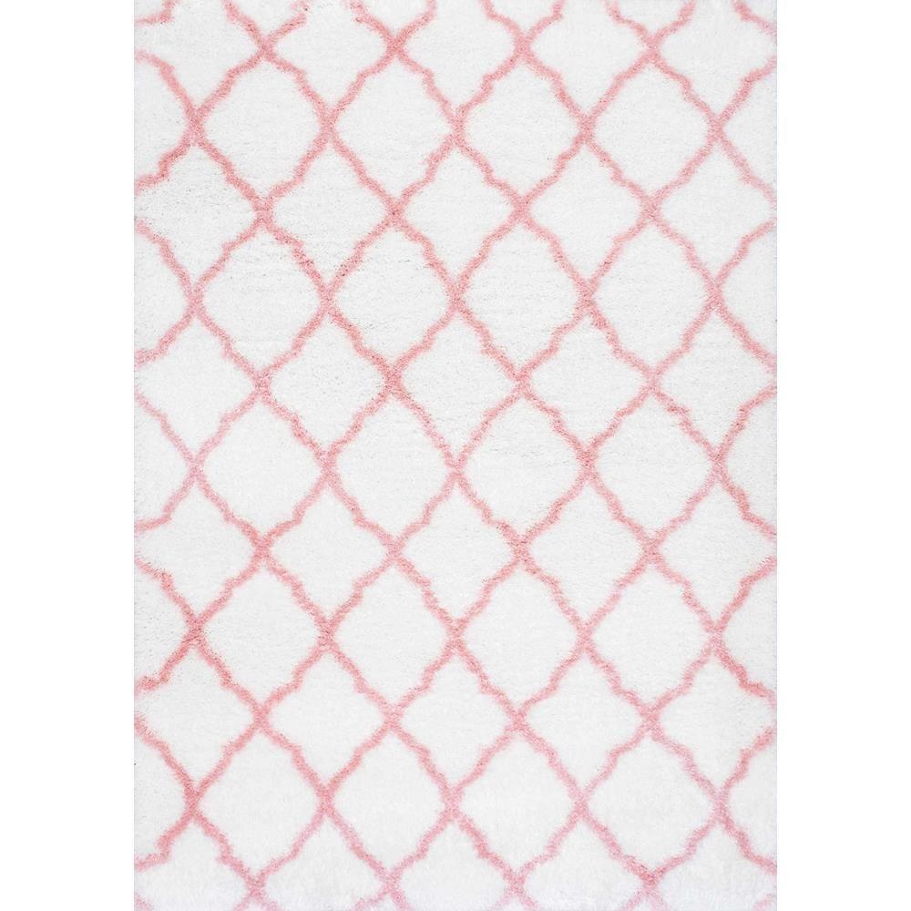 Nuloom Nelda Trellis Kids Shag Baby Pink 8 Ft X 10 Area Rug