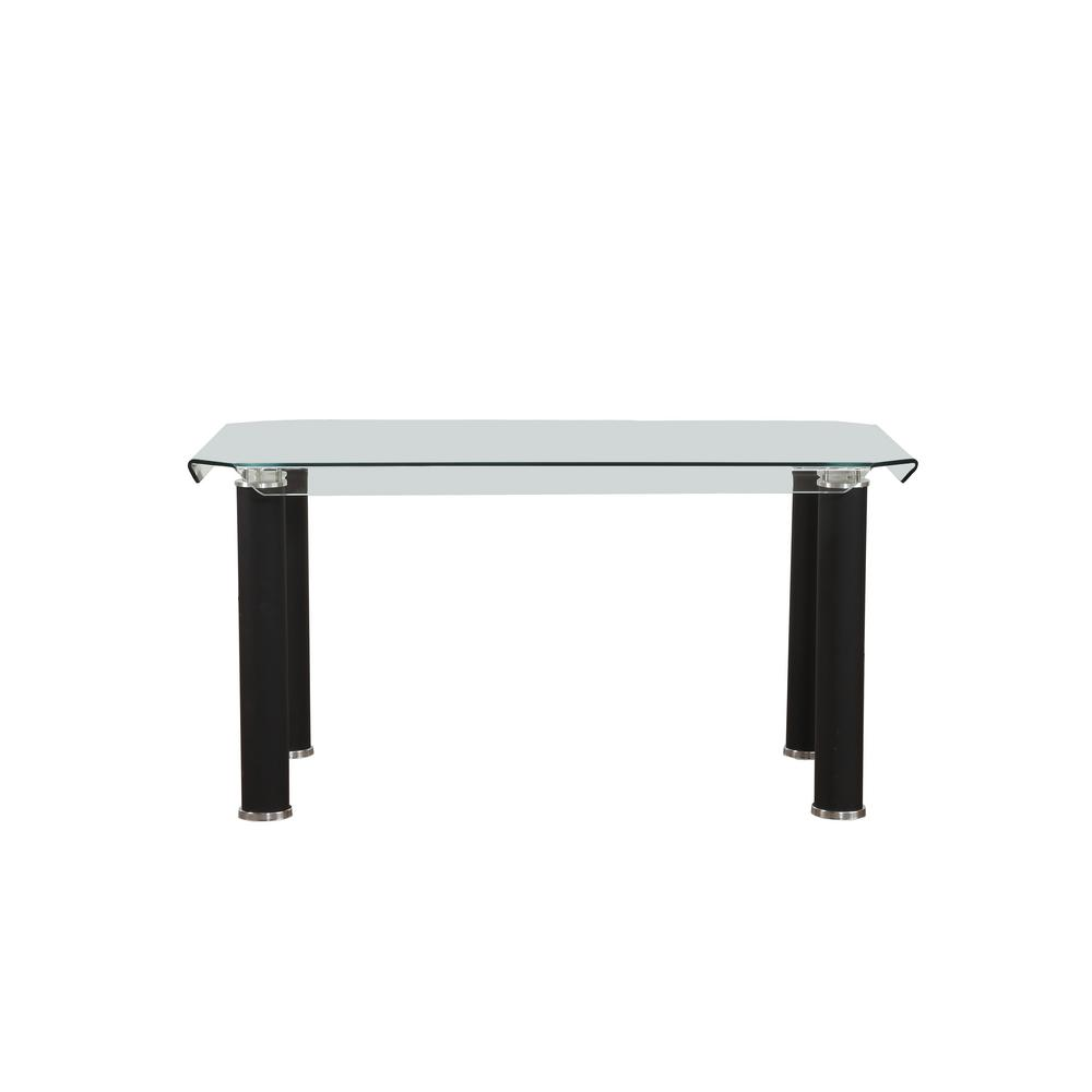 Gordias Clear Glass and Black Dining Table