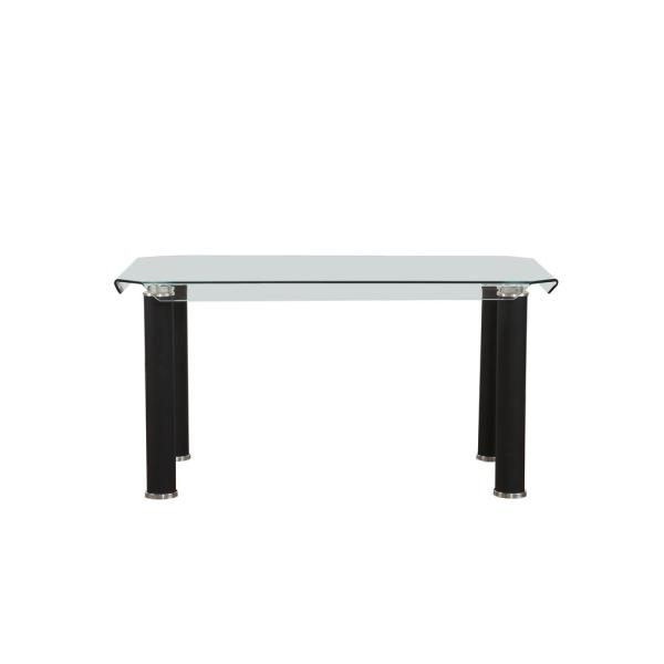 ACME Furniture Gordias Clear Glass and Black Dining Table 70265