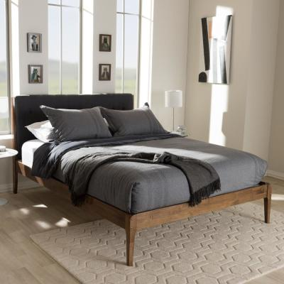 Clifford Mid-Century Dark Gray Fabric Upholstered King Size Bed