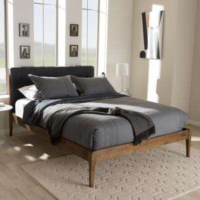 Clifford Mid-Century Dark Gray Fabric Upholstered Full Size Bed