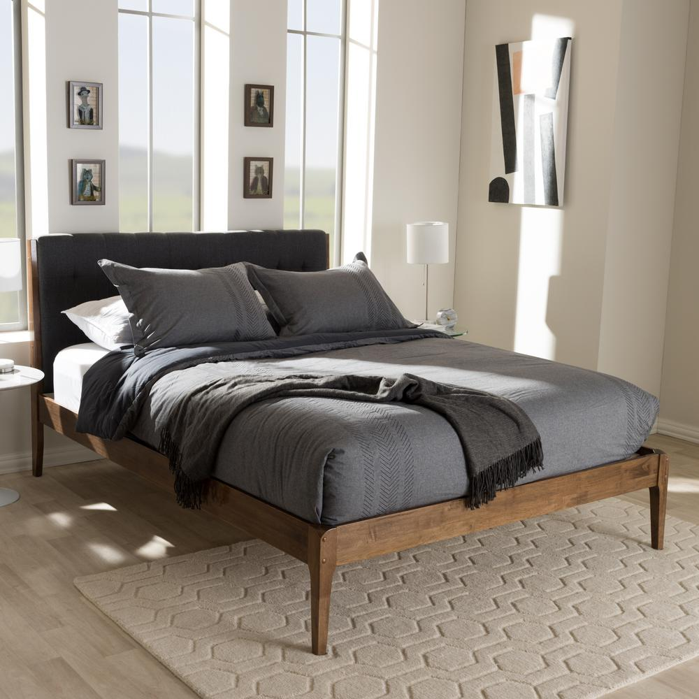 Baxton Studio Clifford Mid Century Dark Gray Fabric Upholstered King Size Bed