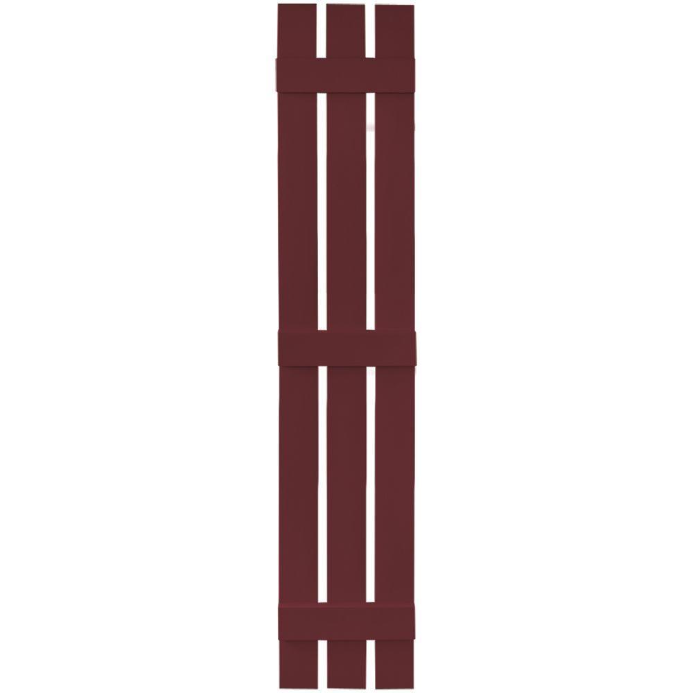 Builders Edge 12 in. x 71 in. Board-N-Batten Shutters Pair, 3 Boards Spaced #078 Wineberry