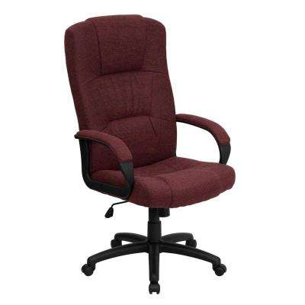 High Back Burgundy Fabric Executive Swivel Office Chair