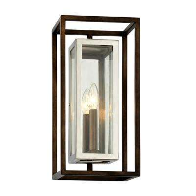 Morgan 1-Light Bronze 15 in. H Outdoor Wall Mount Sconce with Clear Glass