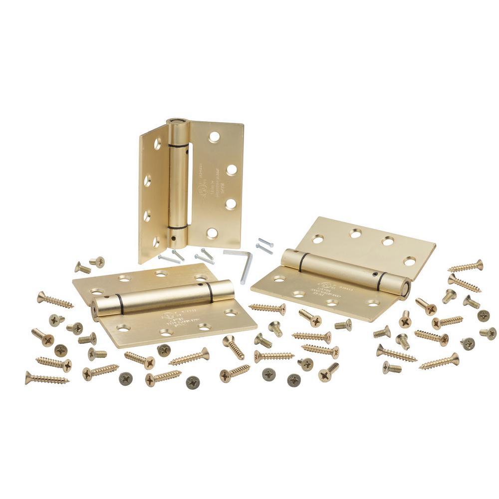 Satin Brass Steel Spring Hinge Global Door Controls 4.5 in Set of 3 x 4.5 in