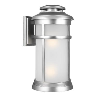 Newport Painted 2-Light Brushed Steel Outdoor 19.875 in. Wall Lantern Sconce