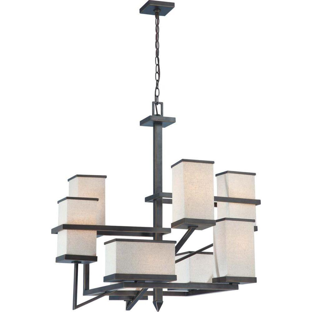 Glomar 8-Light Chandelier with Beige Fabric Shade Finished in Bali Bronze-DISCONTINUED