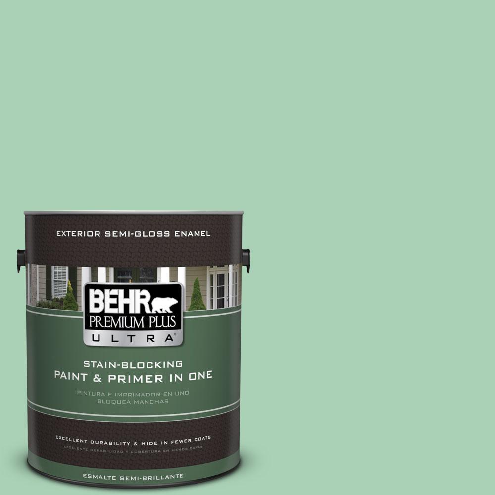 BEHR Premium Plus Ultra 1-gal. #460D-4 Aloe Essence Semi-Gloss Enamel Exterior Paint
