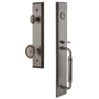 Fifth Avenue 2-3/8 in. Backset Antique Pewter 1-Piece Door Handleset with C-Grip and Soleil Knob