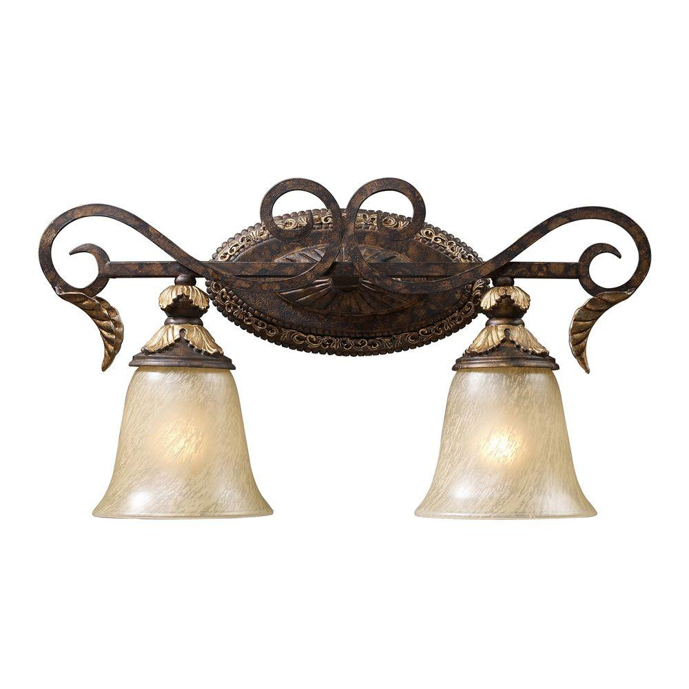 Titan Lighting Regency 2-Light Burnt Bronze Wall Vanity Light