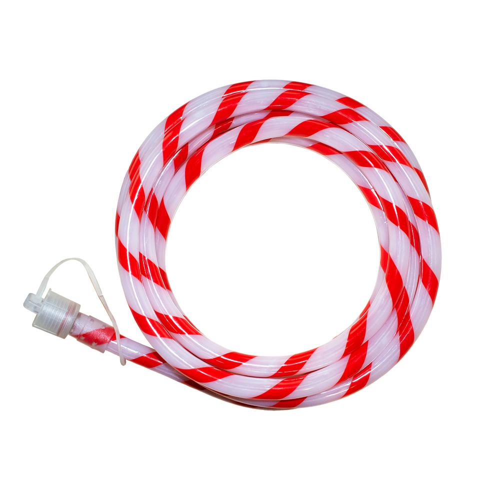 Home Accents Holiday Outdoor/Indoor 16 ft. Line Voltage Soft White Integrated LED Rope Light Flexible Candy Cane Style Holiday Lights