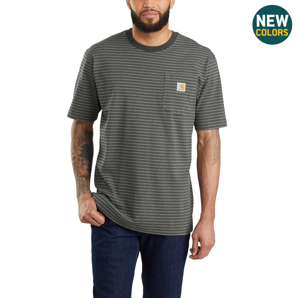 3ee7d334eed5e0 Men's Large Tall Peat Stripe Cotton/Polyester Workwear Pocket Short Sleeve  Midweight Jersey Original Fit T-Shirt