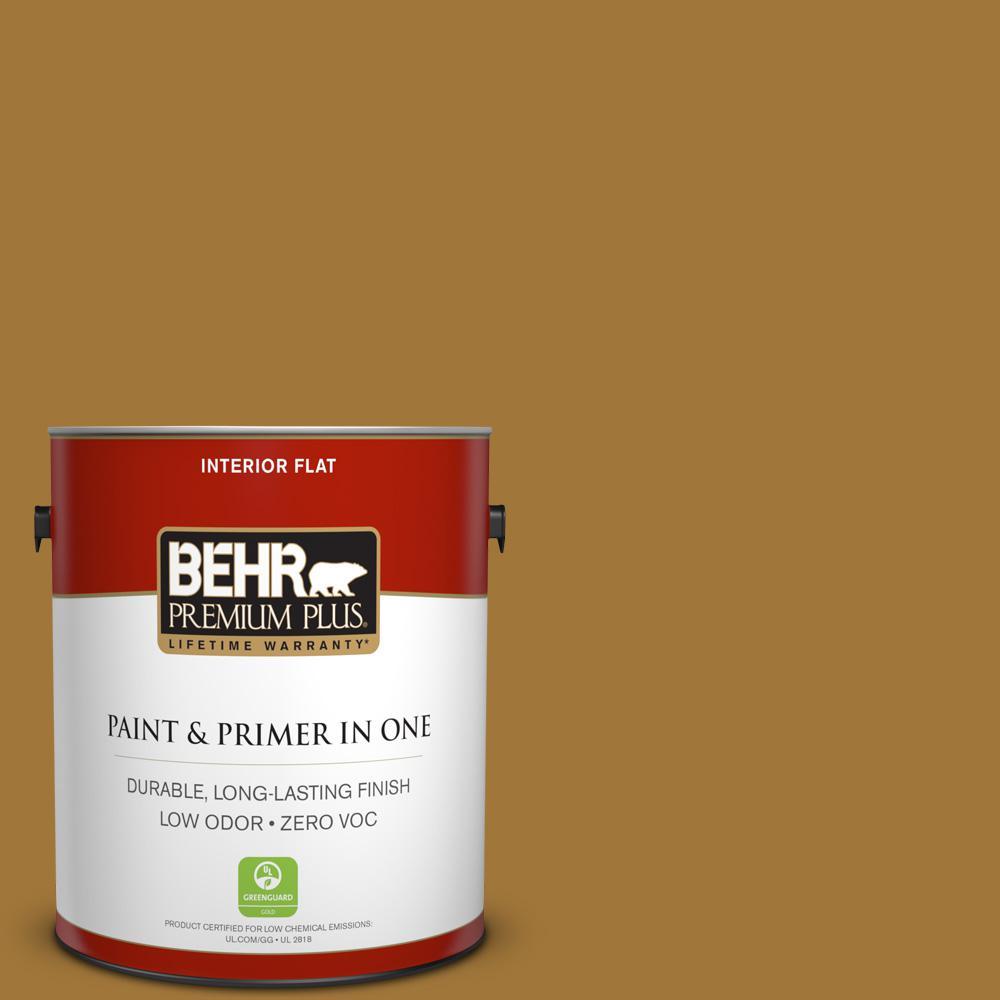 BEHR Premium Plus 1-gal. #320D-7 Victorian Gold Zero VOC Flat Interior Paint