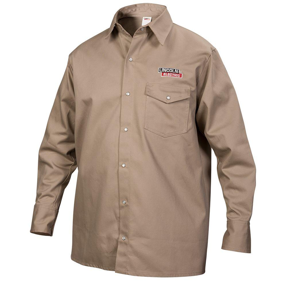 e804e9e62e89 Lincoln Electric Fire Resistant XX-Large Khaki Cloth Welding Shirt ...