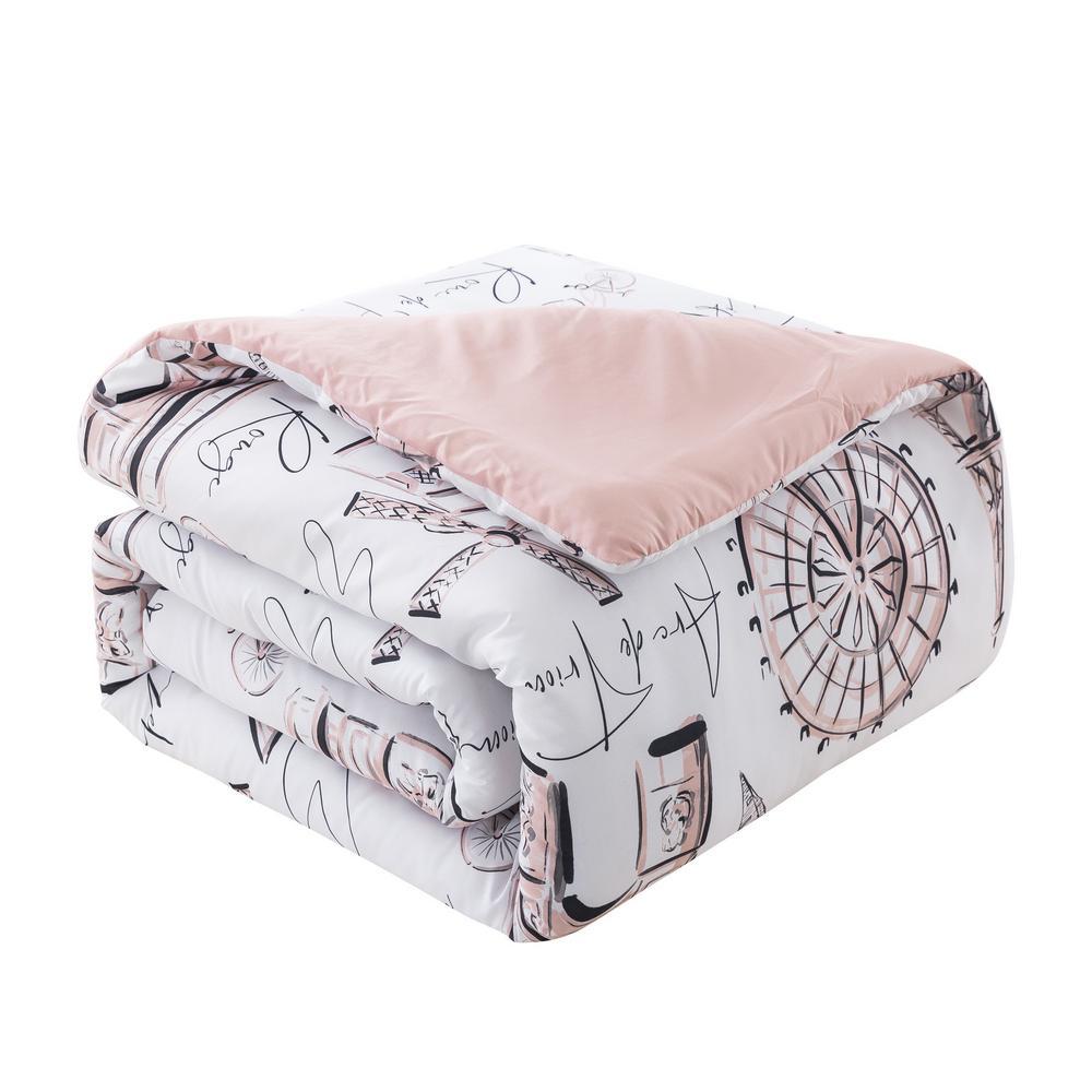 Margaux 5-Piece Dusty Rose Microfiber Full/Queen Comforter Set