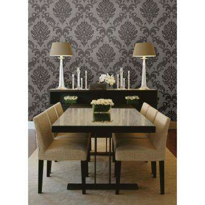 56 sq. ft. Sebastion Grey Damask Wallpaper