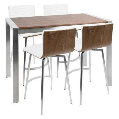 Mason 5-Piece Walnut, White, and Stainless Steel Counter Height Dining Set