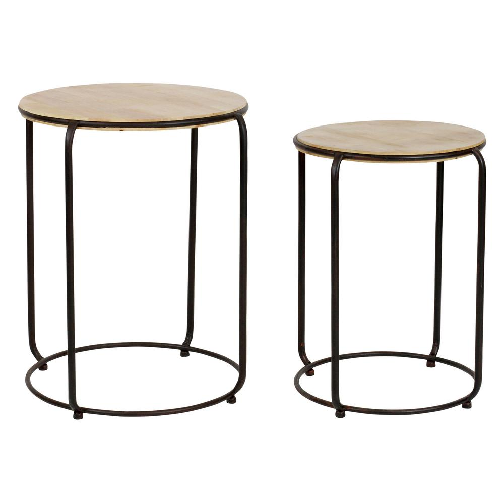 White Zinnia Nesting Tables Set Of 3: White Wooden Nesting Tables With Black Iron Frame And Legs