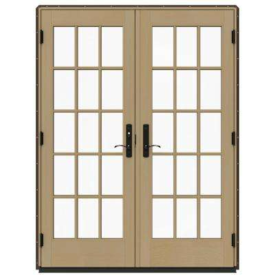 60 in. x 80 in. W-4500 Brown Clad Wood Left-Hand 15 Lite French Patio Door w/Unfinished Interior