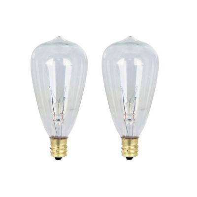 7W Equivalent ST12 Dimmable Incandescent Clear Glass Vintage Edison Light Bulb With Cone Filament Soft White (2-Pack)