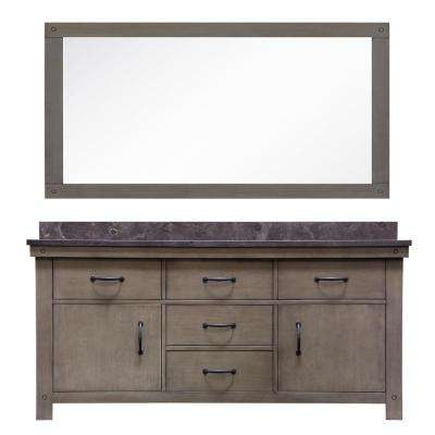 Aberdeen 72 in. W x 34 in. H Vanity in Gray with Granite Vanity Top in Limestone with White Basins Mirror Faucets