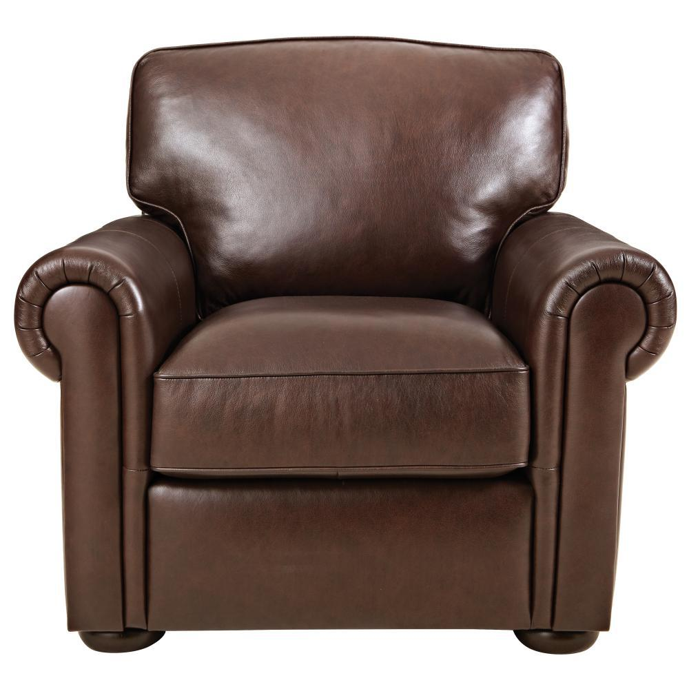 Lovely Home Decorators Collection Alwin Chocolate Italian Leather Lounge Chair