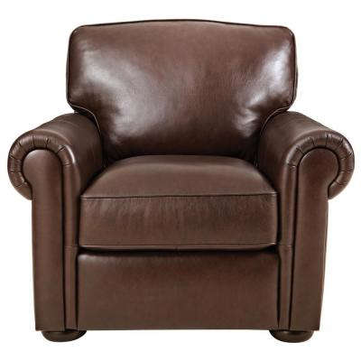 Alwin Chocolate Italian Leather Lounge Chair