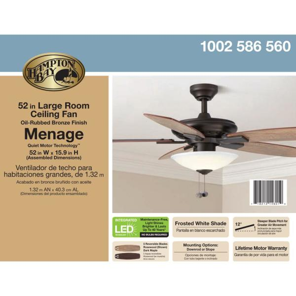 "Hampton Bay Menage 52/"" LED Indoor Low Profile Oil Rubbed Bronze Ceiling Fan"