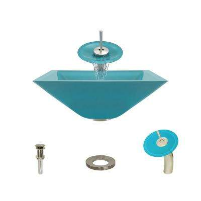 Glass Vessel Sink in Turquoise with Waterfall Faucet and Pop-Up Drain in Brushed Nickel