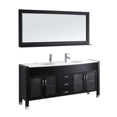 Ava 71 in. W Bath Vanity in Espresso with Stone Vanity Top in White with Round Basin and Mirror and Faucet