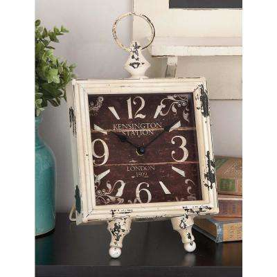 14 in. x 8 in. Vintage White and Black Iron Square Easel Clock