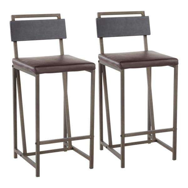 Gia 26 in. Industrial Counter Stool I Antique Metal, Espresso Faux Leather, and Black Wood (Set of 2)