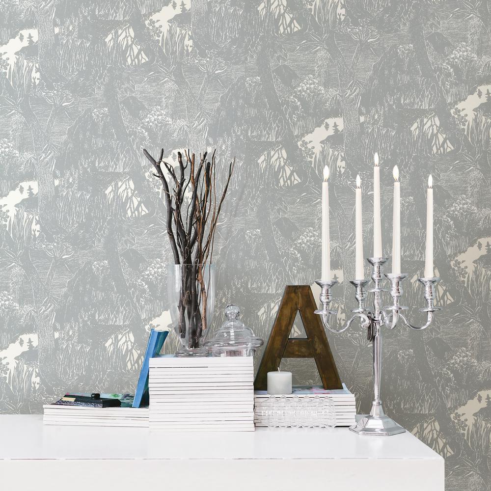 Moominvalley Light Grey Forest Wallpaper Sample