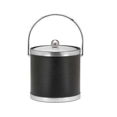Sophisticates 3 Qt. Black w/Brushed Chrome Ice Bucket with Bale Handle, Metal Cover