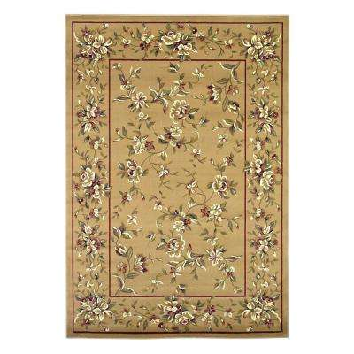 Traditional Florals Beige 3 ft. 3 in. x 4 ft. 11 in. Area Rug