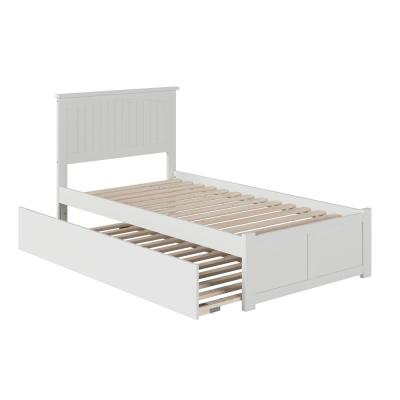 Nantucket Twin Platform Bed with Flat Panel Foot Board and Twin Size Urban Trundle Bed in White
