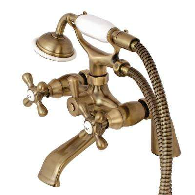 Victorian 3-Handle Deck-Mount Claw Foot Tub Faucet with Hand Shower in Vintage Brass