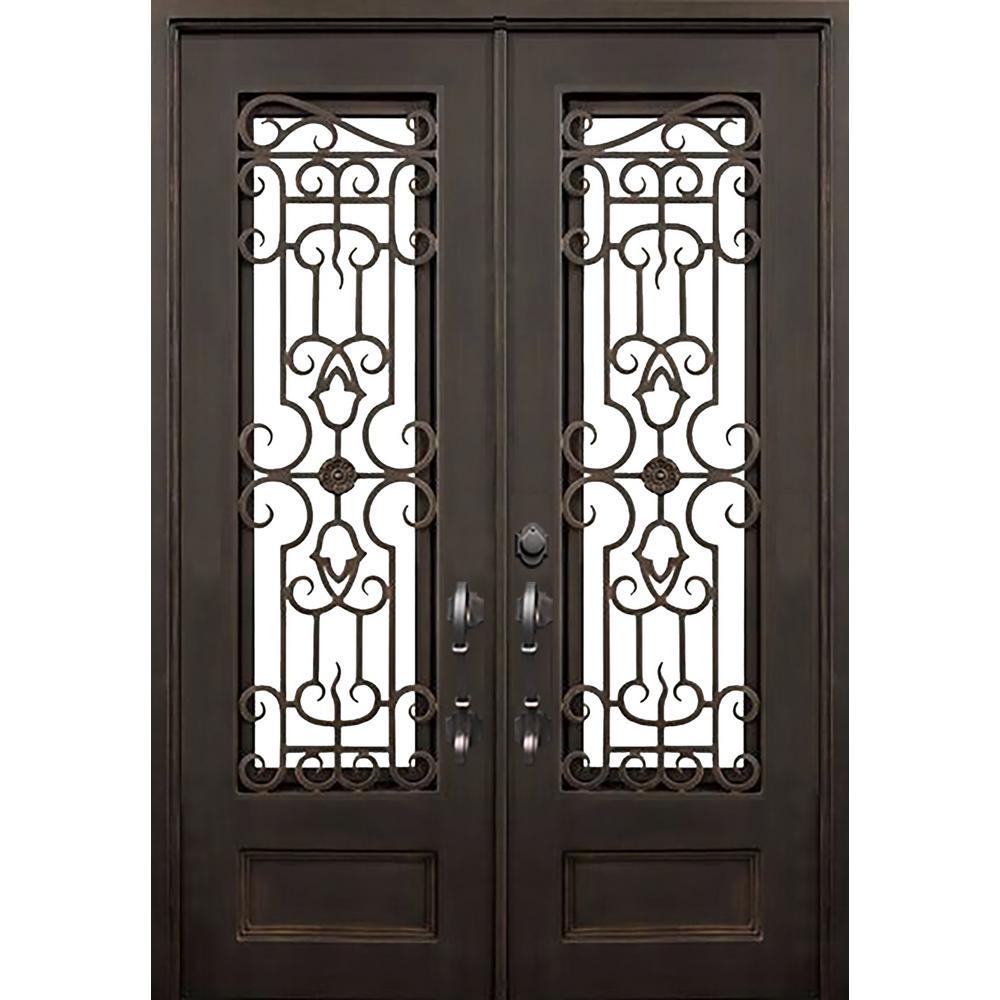 ALLURE IRON DOORS & WINDOWS 72 in. x 96 in. Tampa Dark Bronze Classic 3/4 Lite Painted Wrought Iron Prehung Front Door (Hardware Included)
