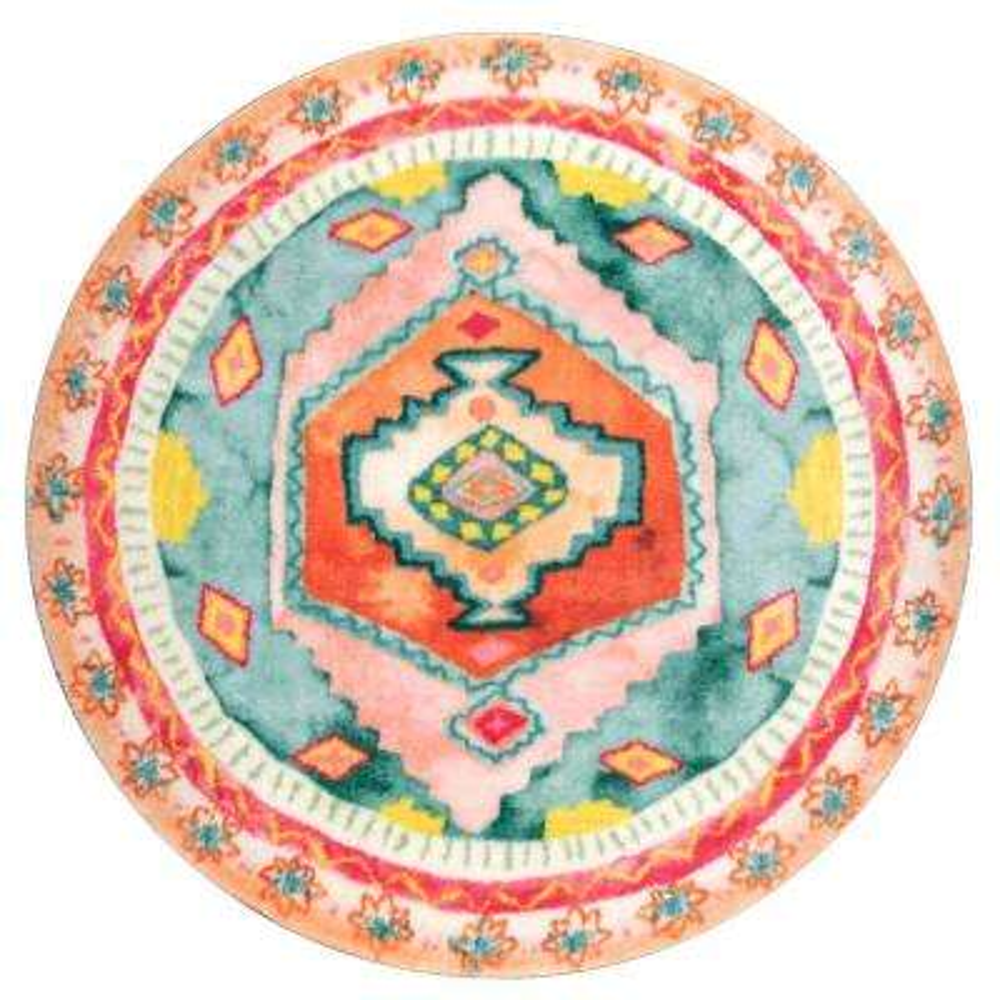 Bohemian Diamond Candice Shaggy Multi 6 ft. x 6 ft. Round Area Rug
